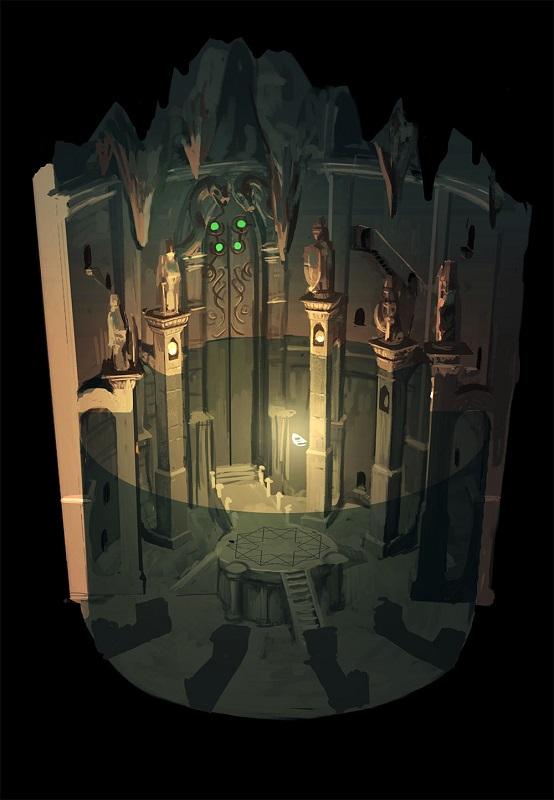 『サラと毒蛇の王冠』第三の部屋のコンセプトアート
