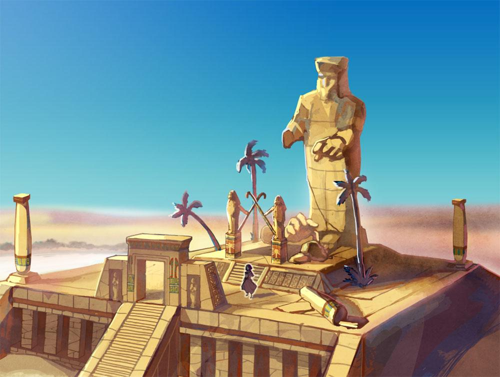 『シドニーとあやつり王の墓』遺跡入り口のコンセプトアート