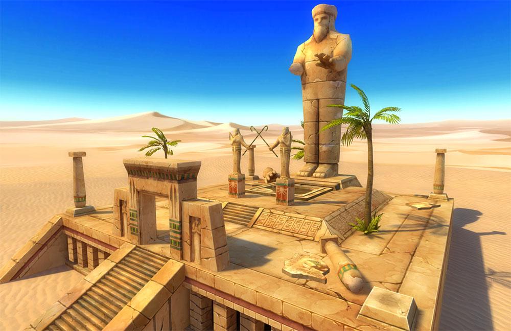 コンセプトアートをもとにMayaでモデリングされた遺跡入り口