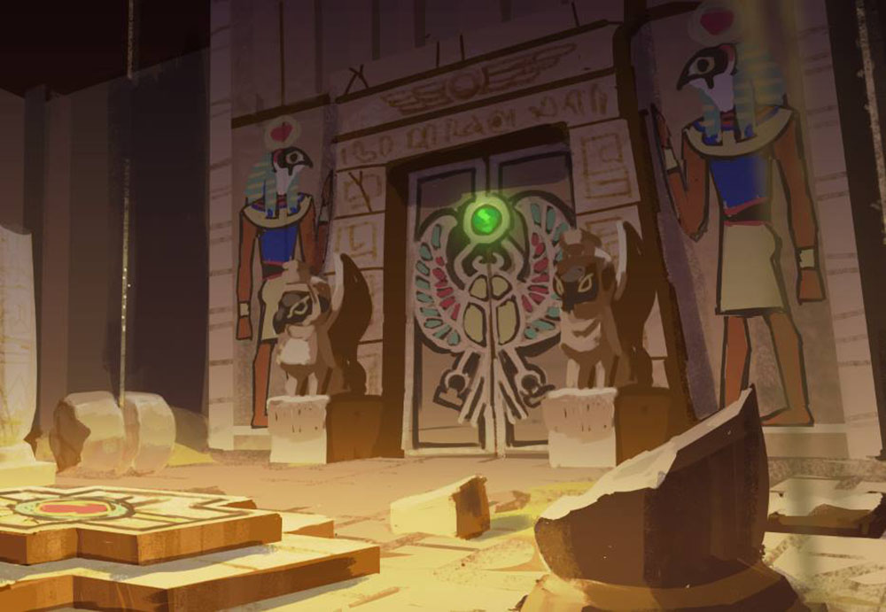 『シドニーとあやつり王の墓』ホルスの間(第2ステージ)のコンセプトアート