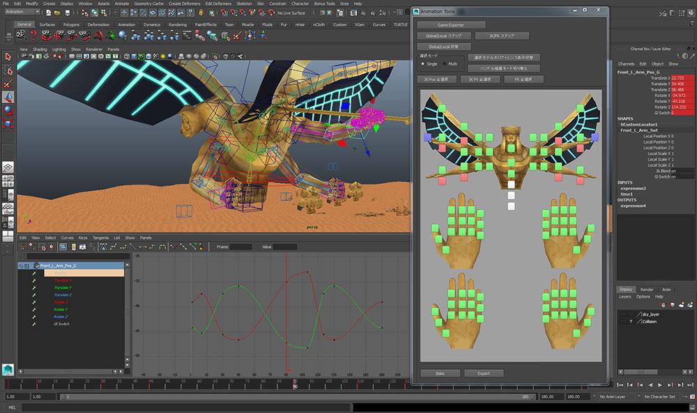 アニメーションはMayaのキーフレームアニメーションでつけられている。一部、モンスターのマントなどで物理シミュレーションも使用されており、ベイクした後、キーフレームアニメーションとして出力されている