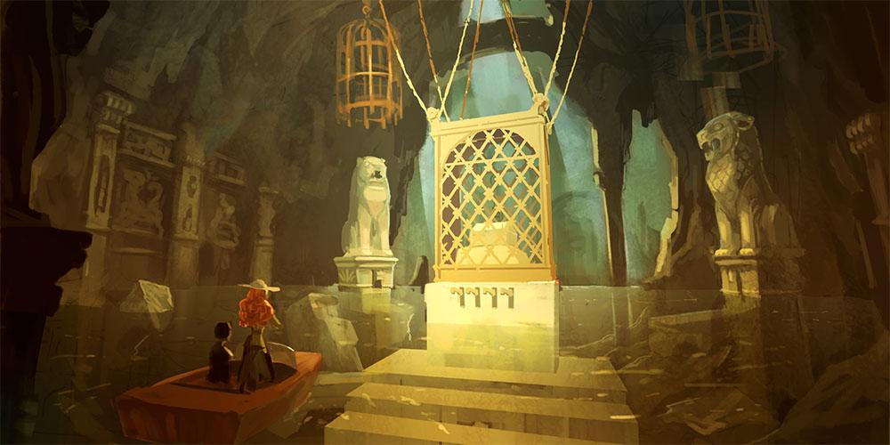 『サラと毒蛇の王冠』第一の部屋のコンセプトアート
