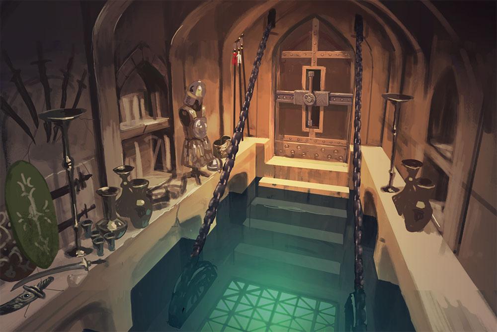 『『サラと毒蛇の王冠』第二の部屋のコンセプトアート