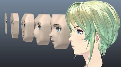 Mayaで作るセルルックキャラクターそこはかとなくアウトローなモデリング方法でセルルックの美女を作ってみた 第2回:側面テンプレートをガイドとした頭部立体化手順