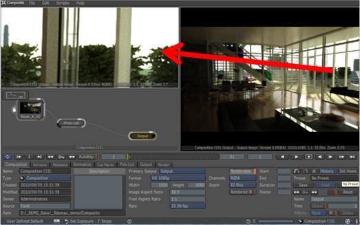 3ds Maxでレンダリングした画像をCompositeで開いた状態