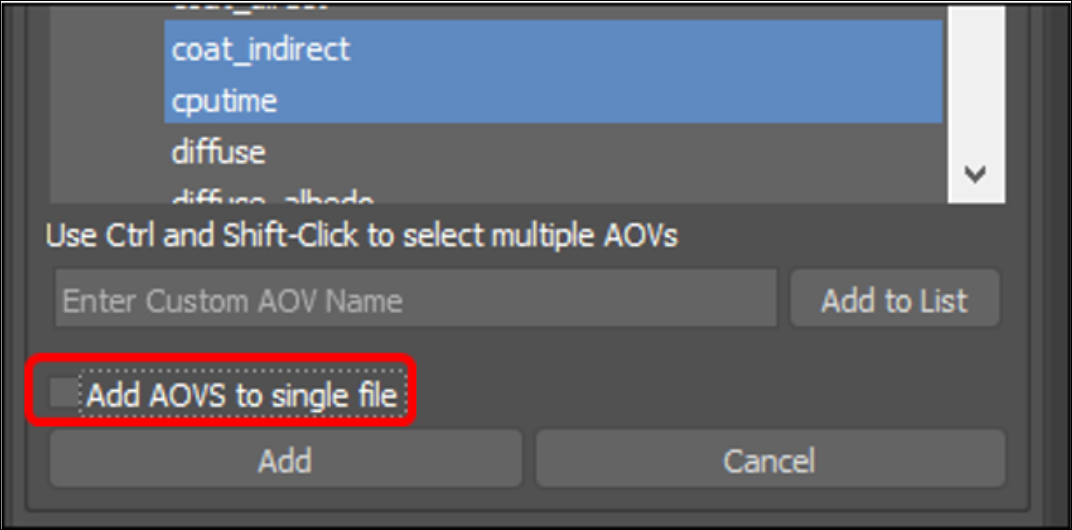 「Add AOVs to single File」にチェックを入れる