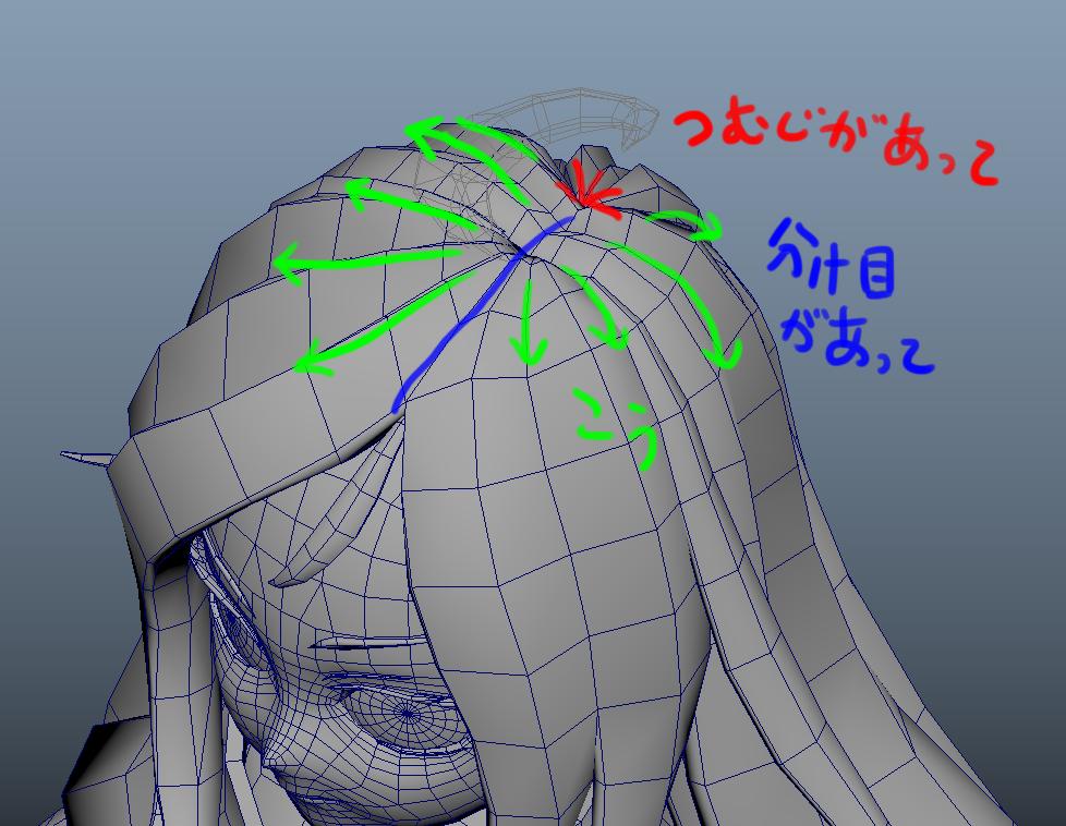 流れを考えて頭頂部を3Dモデリングをする
