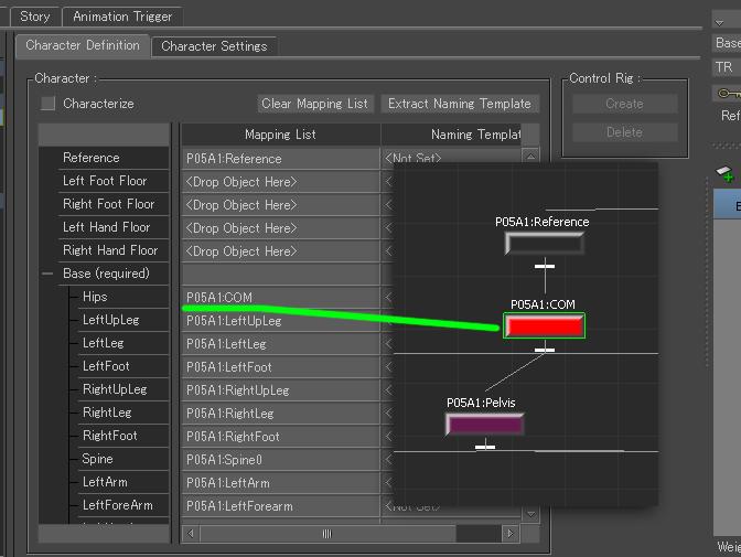 MBでCharacter Mapping ListのHipsは、PelvisではなくCOMを使用する。