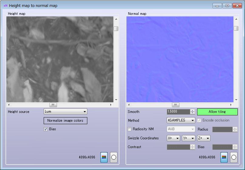 画像AをxNormal(フリーのソフト)に持って行って法線マップにする
