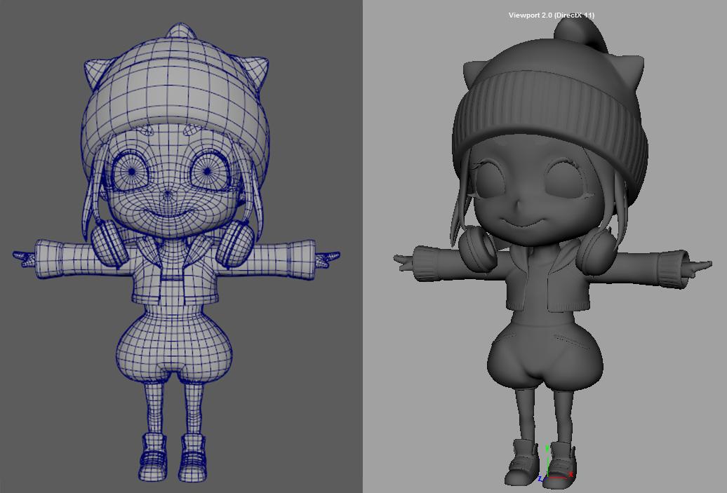 左図がゲーム用のローポリゴンモデル、右図がノーマルマップベイク用のハイポリゴンモデル