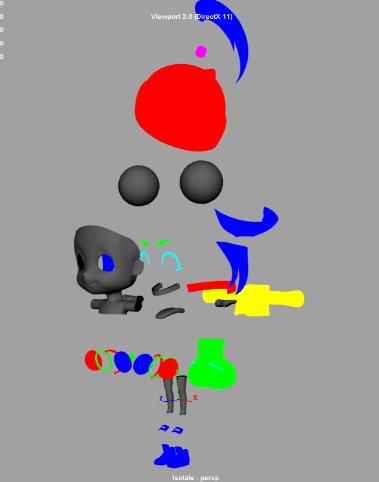 左図の様にオブジェクト同士が重なり合わないように分断し、ハイポリゴンモデルとローポリゴンモデルの差異からノーマルマップをベイクする