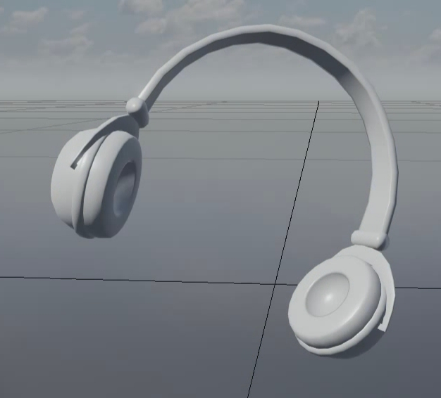 パピコのヘッドフォンを[Asset Browser]からレベルビューポートにドラッグ・アンド・ドロップで呼び出す