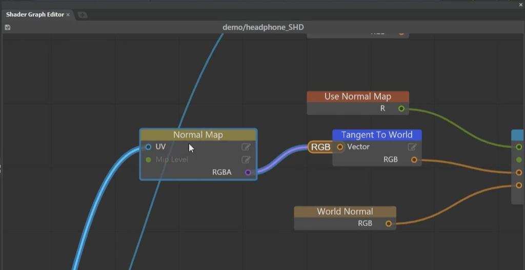 [Shader Graph Editor]を[Open Shader Graph]から開き、Normal Mapをロードしている[Normal Map]ノードを選択