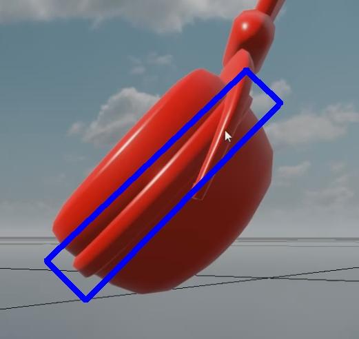ヘッドフォンのヘッド部分の青く囲んだ領域だけを別の色に変更