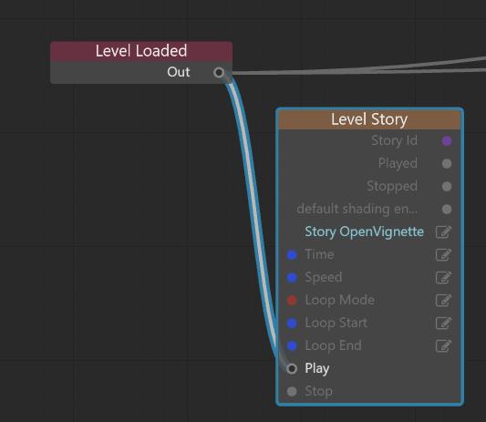 出来上がったStoryをLevelの中で呼び出すために、Level Flowを接続